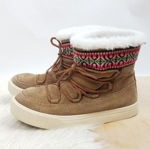 Toms Alpine Toffee Suede Faux Fur Lined Boots
